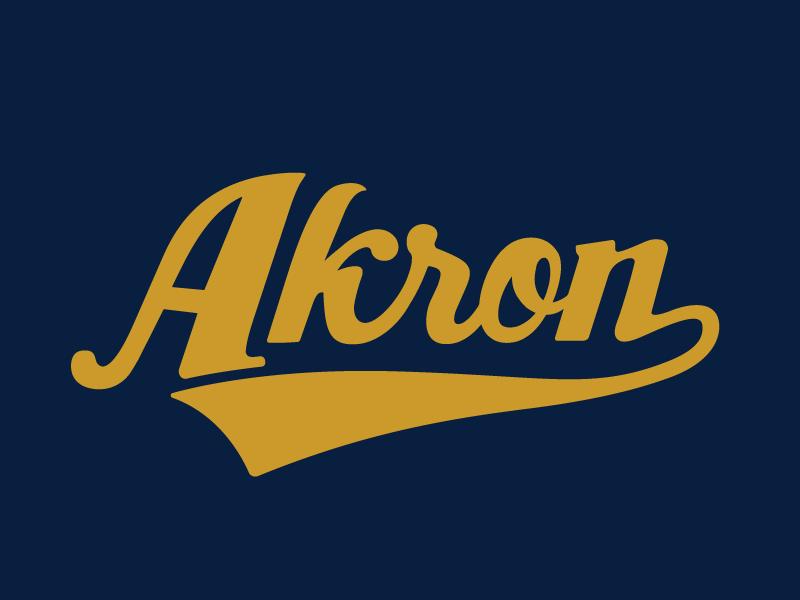 Akron baseball sports typography type script zips ohio akron
