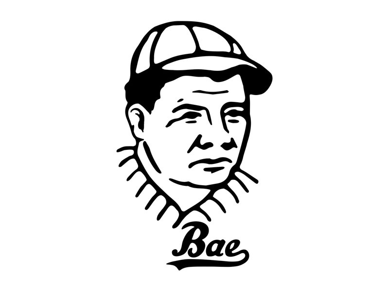Bae Ruth tail script new york bat sports baseball bae babe sketch vintage