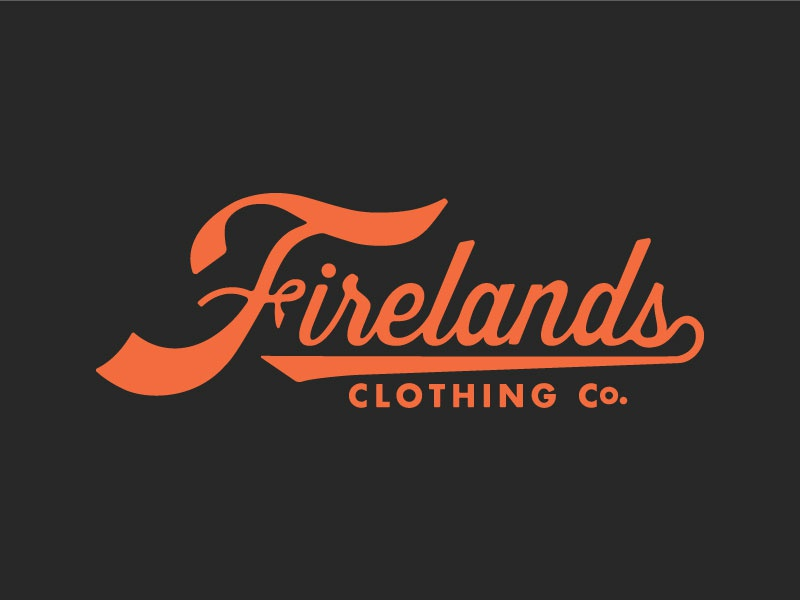 The Firelands logo vintage orange fireland firelands clothing ohio typography script