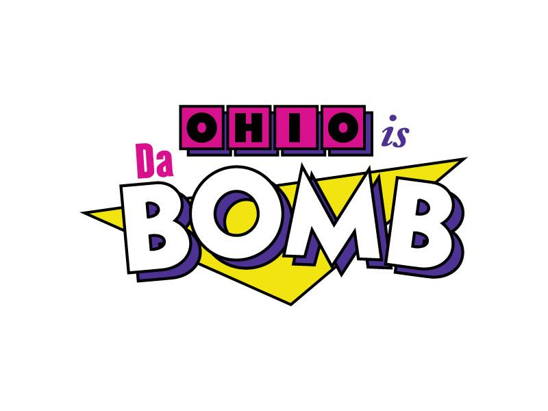 Da Bomb retro 1990s triangle sans serif logo pop tarts neon 90s ohio