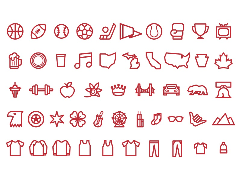 Icon Set icon red thin simple apparel usa cities sports icons