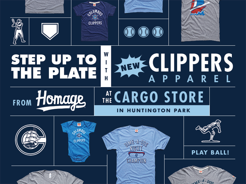 Clippers Stadium Signage hot dog ohio play ball tees poster signage minor league minors columbus baseball