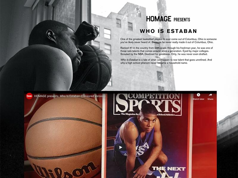 Estaban Landing Page columbus basketball video one page design landing page ui web design