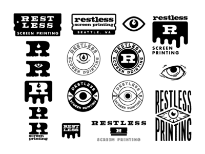 Restless Printing rough badge badge logo emblem logo screen printing restless eye emblem illustration logo