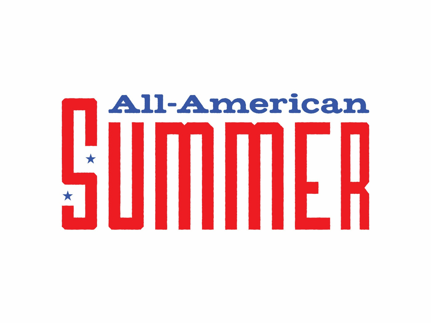 All American Summer homage retro distress vintage stars and stripes stars american america summer wordmark logo wordmark logo usa
