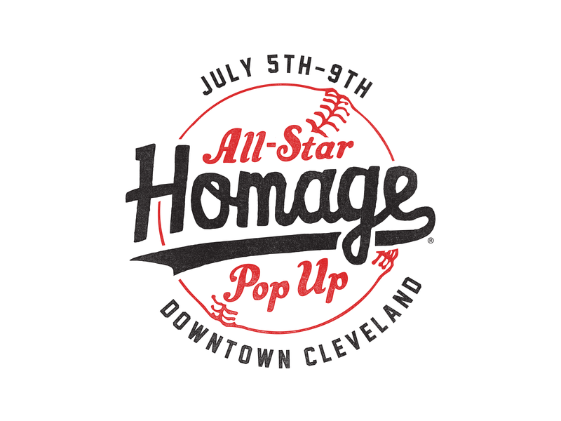 All-Star Pop Up signage script pop up popup all star all-star logo mark cleveland baseball homage identity logo