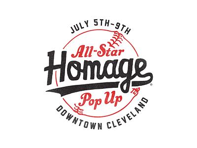 All-Star Pop Up signage script pop up popup all star all-star logo mark cleveland baseball homage identity logo