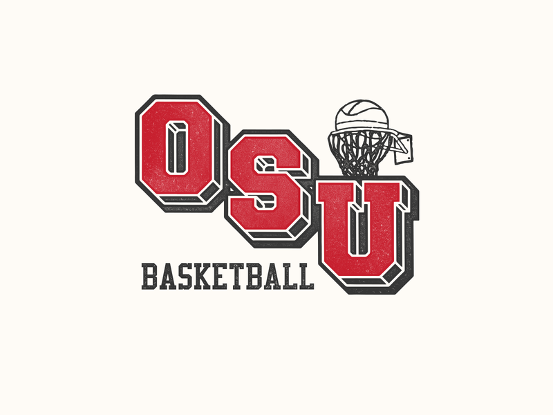 OSU Basketball homage throwback vintage sports basketball lockup logo columbus ohio ohio state university ohio state