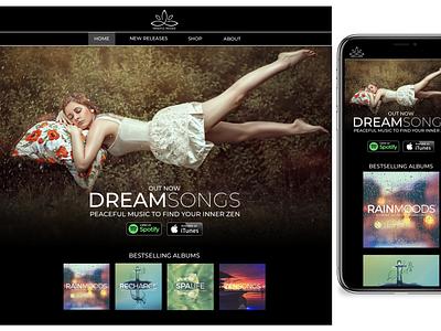 Album Launch Page music app product page landing page design shop responsive design meditation music website album art landing page ui landing page