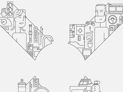 "u""X"" products line-art illustration"