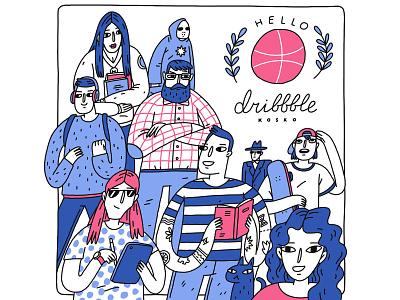 Hello Dribbble! kosko hello procreate hello dribbble illustration