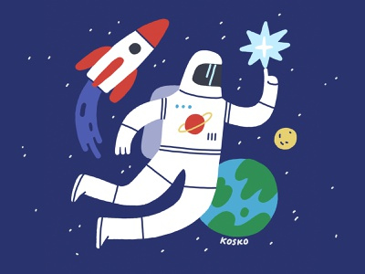International Day of Human Space Flight dribbble april 12 universe galaxy stars moon earth star spaceship rocket astronaut spaceman space