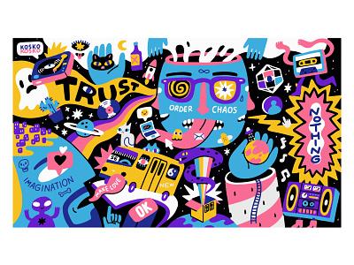 TRUST wall art astronaut crazy artwork psychedelic art psychedelic image kosko vector trace procreate illustration trust