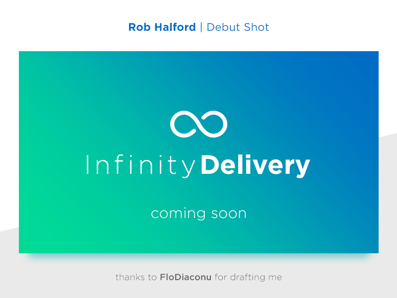 Infinity Delivery - Debut Shot word mark logo work in progress diffuse shadow shadow flat clean fade delivery infinity debut