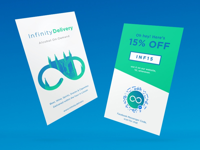 Infinity Delivery Flyers card business card print flyer infinity illustration flat promo design delivery alcohol