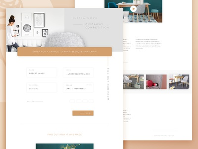 Initia Nova Competition drop shadow form minimal competition vertical text gold design ui furniture microsite landing page