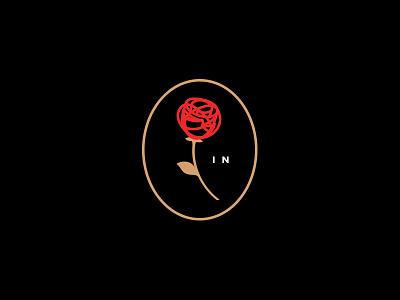 Red Rose dark interior design gold epiphany brand badge initials crest mark logo flower rose