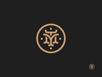 TM Monogram badge lapel stag do circle icon black gold logo pin monogram tm