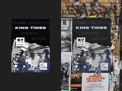 King Tides — Summer Tour extra wide brick wall poster design wall mockup band poster art