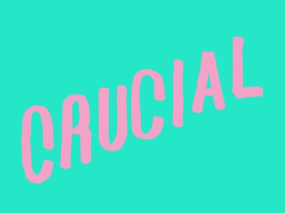 Crucial neon hand lettering typography crucial