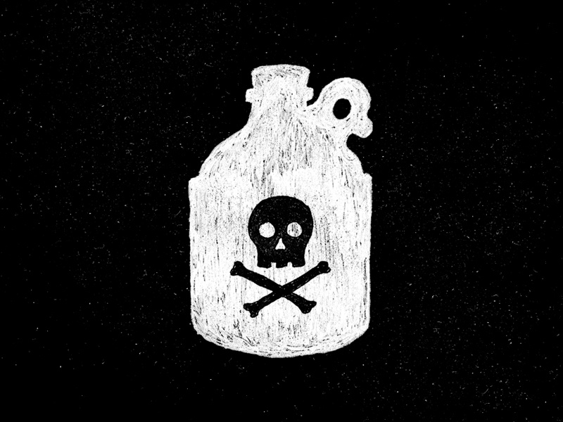 Rum Jug logo icon jar alcohol crossbones skull illustration jug rum