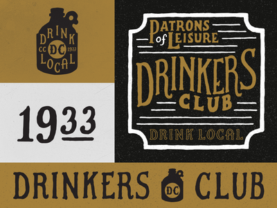 Drinkers Club clothing drink alcohol lettering icon typography logo branding