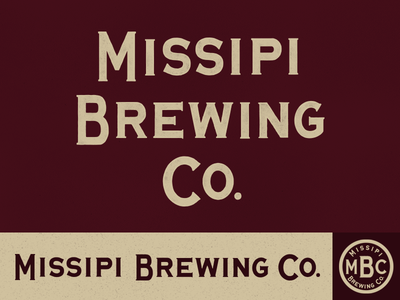 Missipi Brew crest typography river brewery bar mississippi retro vintage ghost lettering