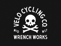 VELO Wrench Works lettering mechanic garage wrench midwest cycling crossbones skull illustration typography