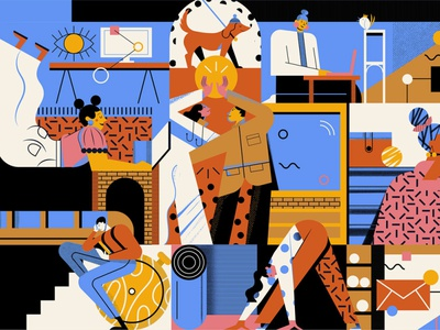 How do we work ? homework covid work magazine character editorial vector illustration