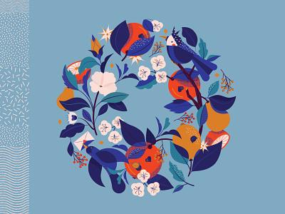 Wheels round wheel bird leaf orange vegetal plant blue texture illustration vector