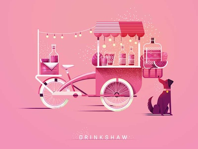 Drinkshaw adobelive lights dog bike lemonade rickshaw