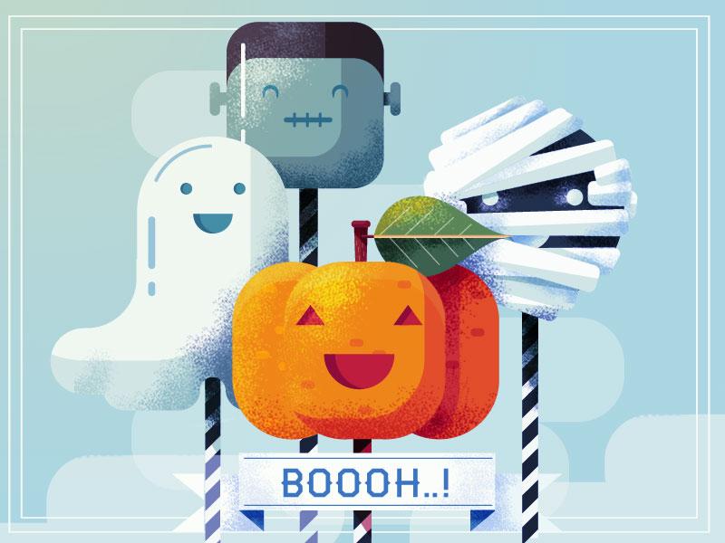 Halloween ! spooky popcake halloween monster mummy gost pumpkin