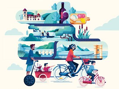 Bike along the Rhône ! water travel family bike lyon