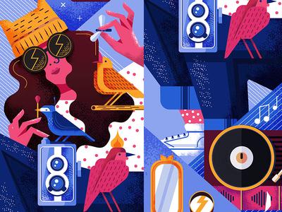 Skate x Birds vinyl camera woman textures vector birds skate
