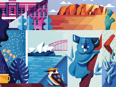 Forbes Japan blue illustration koala vector travel illustrator australian