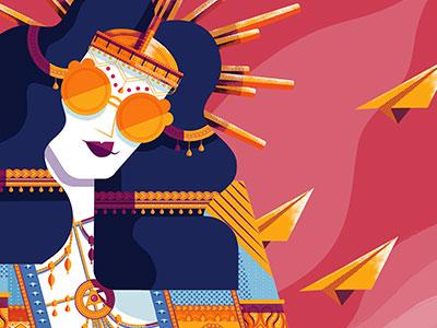 Queen woman illustration vector gold crown queen