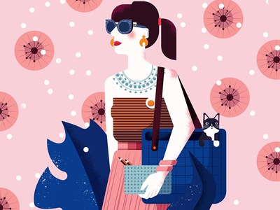 Loren woman pink pattern cat character vector