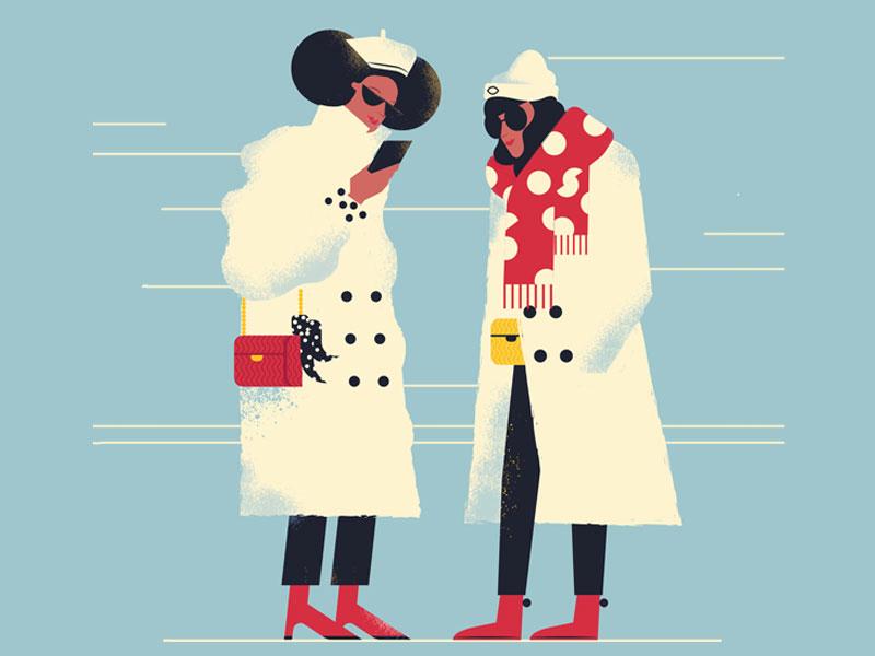 Winter street friend women fashion vector illustrator women woman coat winter characters