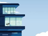 E building desk openspace work building illustrator vector