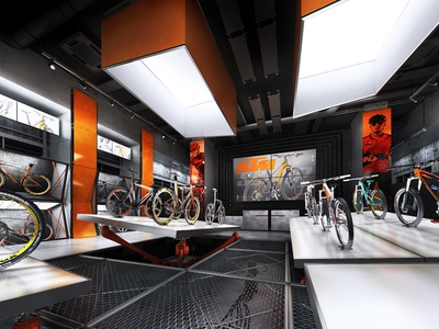 KTM BICYCLES conceptual SHOWROOM store design bike showroom design bike showroom showroom design ktm showroom ktm store ktm