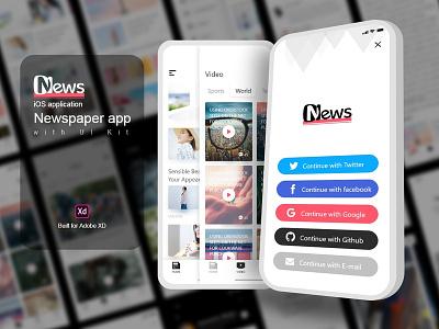 Newspaper App Design UI Kit- iOS