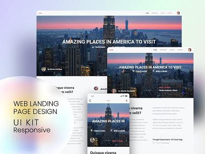 Trendy Web Landing Page Design UI kit - Responsive