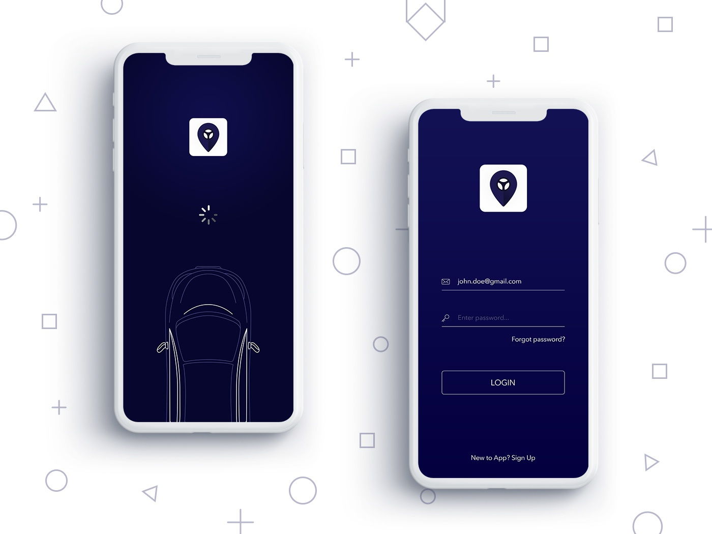 Mobile App Splash & Login Screen flat  design splash login ios android mobile app uiux