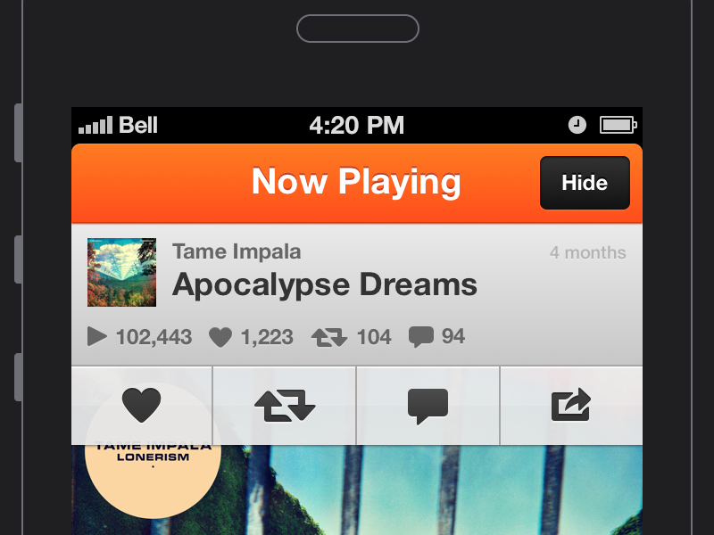 SoundCloud (.Sketch Freebie!) sketch bohemiancoding freebie ios app interface music player