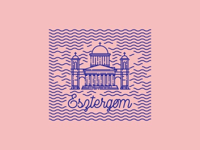 Weekly Dribbble - Sticker challange dribbble hungary doodle stamp badge crest church river town sticker line art flat vector illustration design