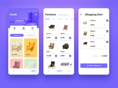 Furniture sales mobile application flat icon mobile ios art clean web design lettering lancedaile website ui after effect animation typography app branding beautiful ux illustration