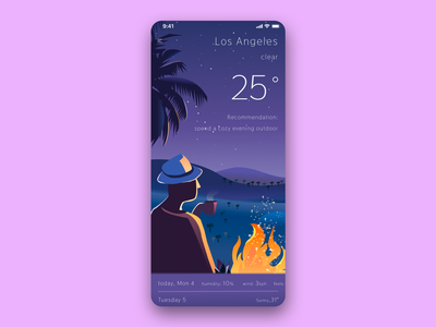 Weather Forecast App illustrator ux vector app design ui illustration