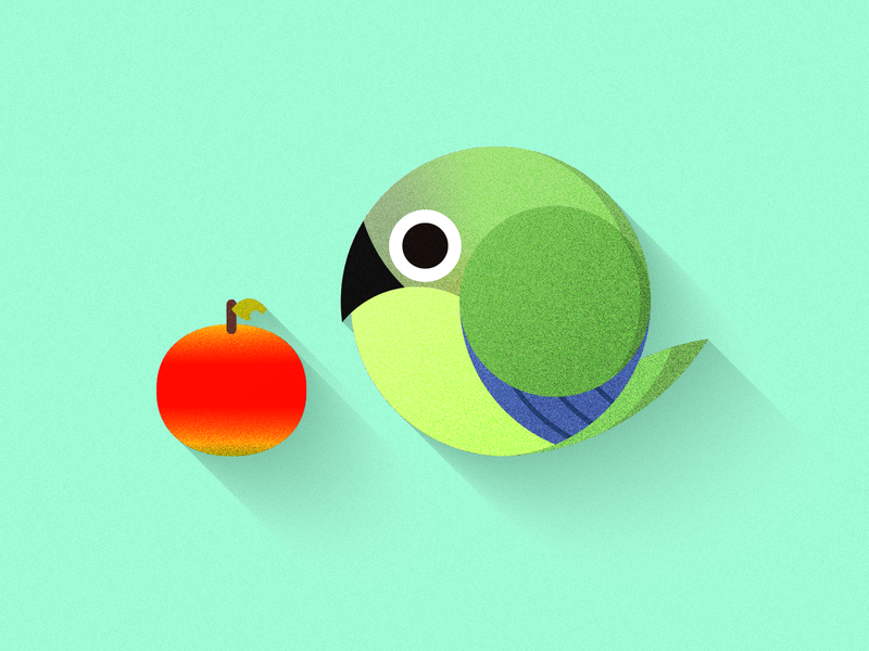 dusky headed conure & apple animal flat icon vector illustration design
