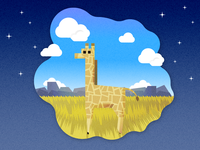 Giraffe On Savanna, night
