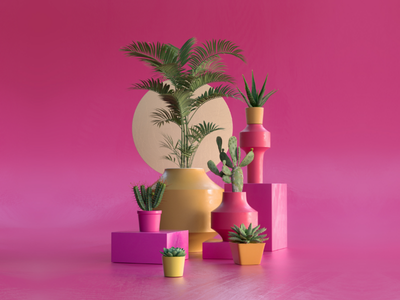 Still life green 3d motion graphics design ux ui composition pink minimal floral lighting render c4d